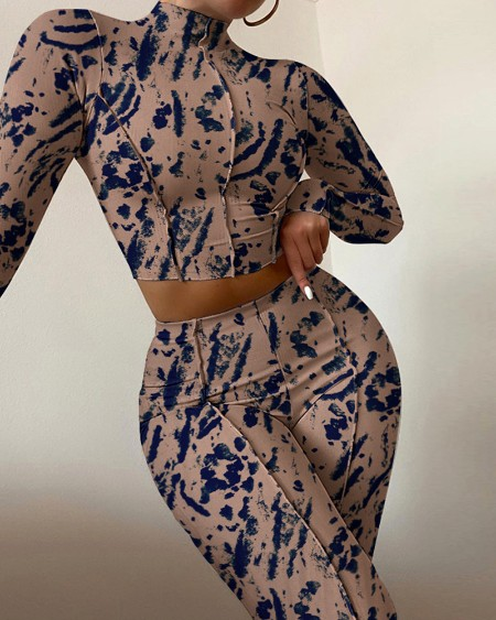 Abstract Print Long Sleeve Crop Top & High Waist Skinny Pants Set