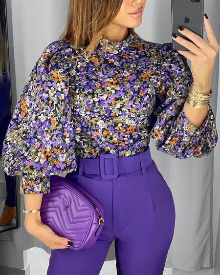 Floral Print Lantern Sleeve Top