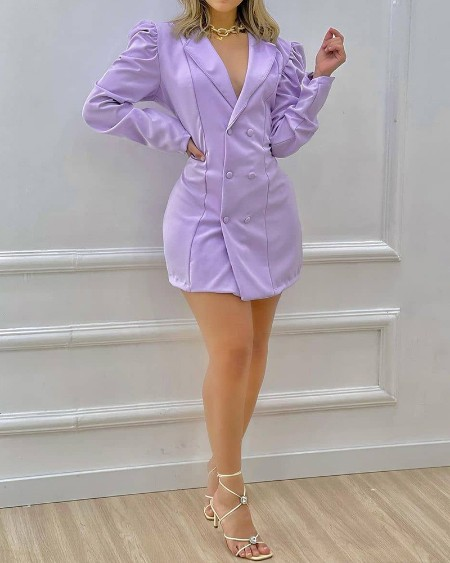 Notched Collar Puff Sleeve Double Breasted Bodycon Dress