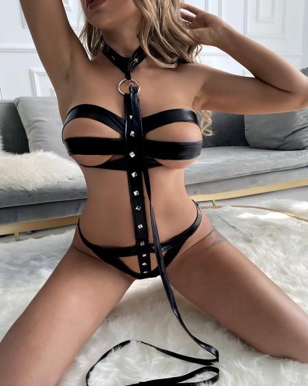 Sexy Underwear Ladies Lingerie Halter Backless Strappy PU Leather Harness Teddies