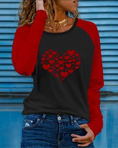 Colorblock Heart Print Long Sleeve Casual Top