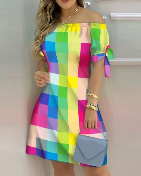 Plaid Ptint Colorblock Off Shoulder Tie Detail Casual Dress