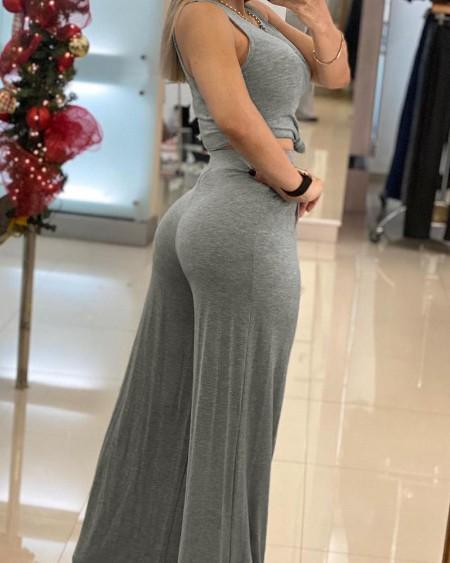Plain Sleeveless Crop Top & High Waist Wide Leg Pants Set
