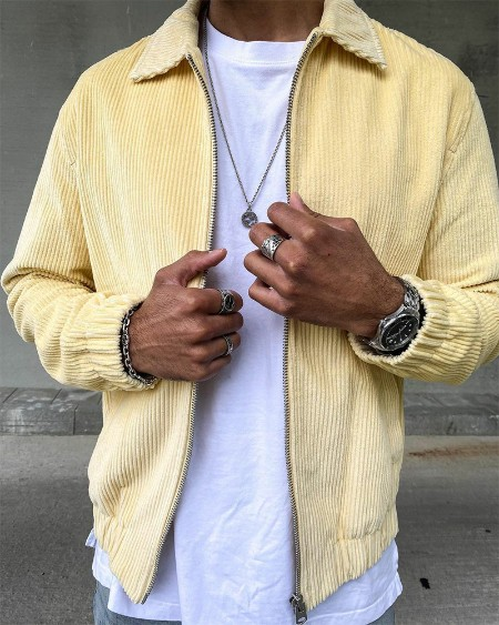 Solid Color Corduroy Long Sleeve Jacket