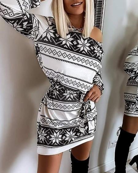 Christmas Print Cold Shoulder Dress