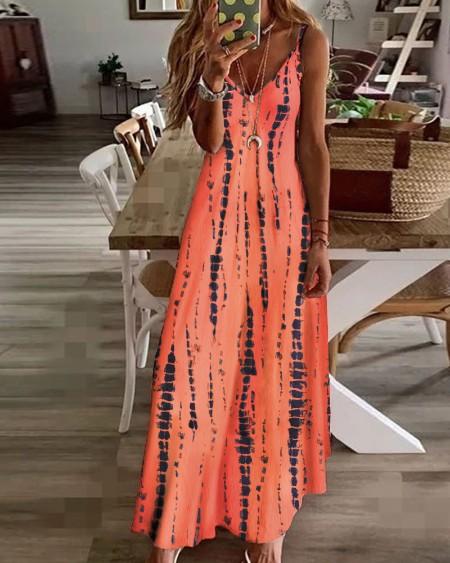 Tie Dye Print Colorblock V-Neck Maxi Dress