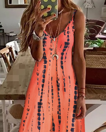 Tie Dye Print Colorblock V-Neck Maxi Dress