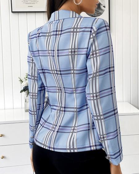 Striped Colorblock Button Decor Blazer Coat