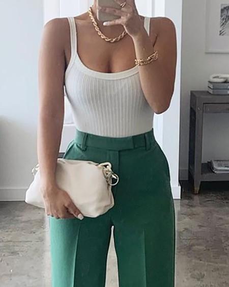 Thin Strap Top & High Waist Pants Set