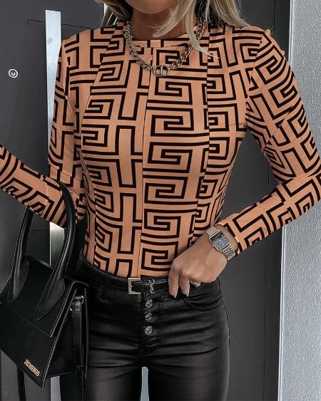 Geo Print Contrast Stitch Long Sleeve Skinny Top