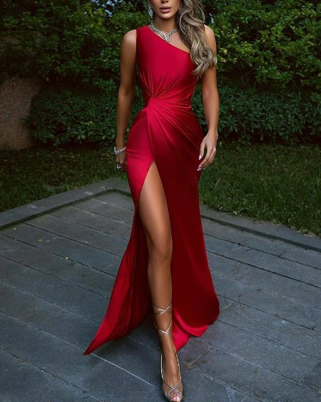 Solid Color One Shoulder Ruched Split Thigh Dress