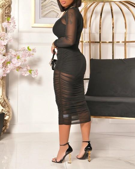 3PCS Crop Top & Shorts & Sheer Mesh Ruched Midi Dress Set