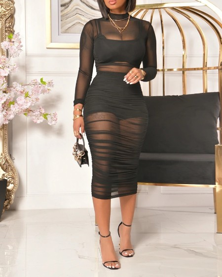 3PCS Crop Top & Shorts & Sheer Mesh Ruched Midi Dress Set
