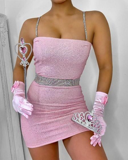 Rhinestone Chain Strap Bodycon Dress