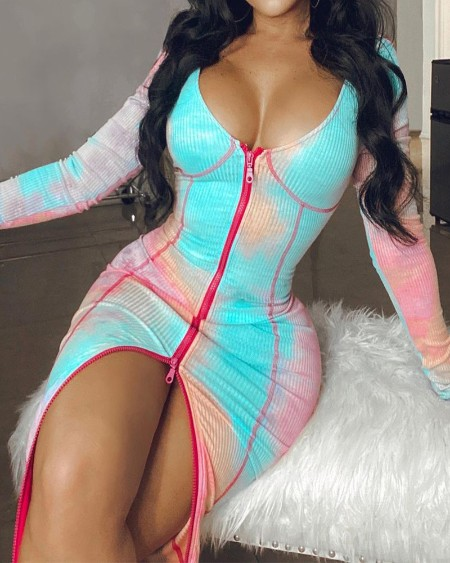 Tie Dye Zipper Front Ribbed Bodycon Dress