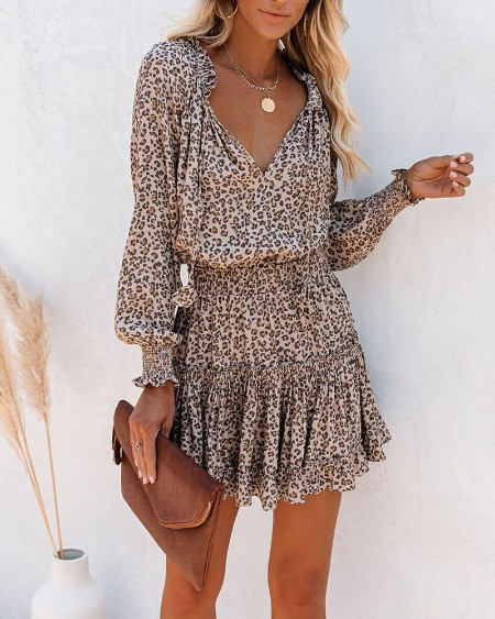 Cheetah Print Ruffles Long Sleeve Dress