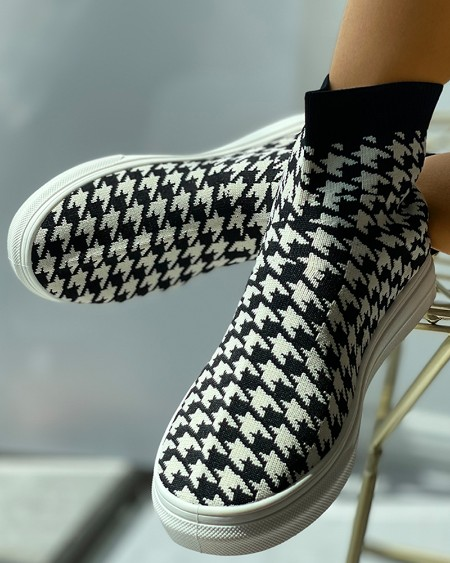 Houndstooth / Plain Knit Casual Sock Sneaker