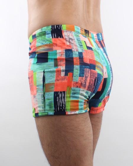 Color Block Graffiti Print Skinny Swim Short Pants