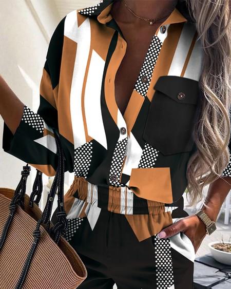 Colorblock Polka Dot Button Front Casual Shirt & Shorts Set