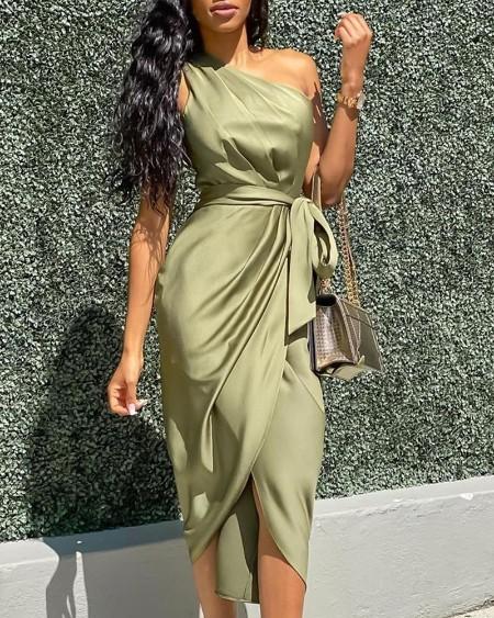 One Shoulder Ruched Slit Party Dress