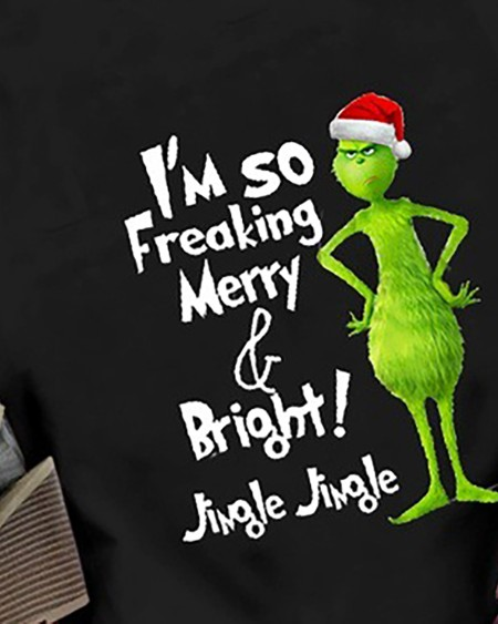 Christmas Letter Cartoon Print T-shirt