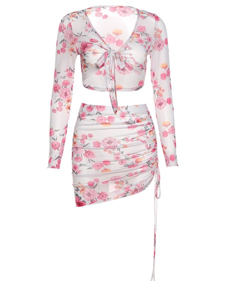 Floral Print Tie Front Top & Ruched Drawstring Skirt Set