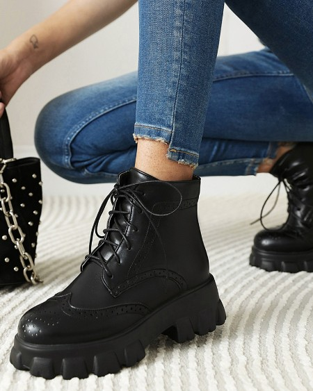 Women Solid Color Round Toe Lace Up Platform Martin Boots