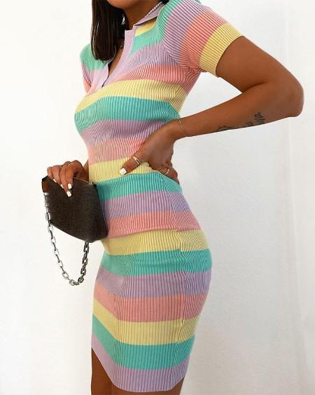 Striped Colorblock Short Sleeve Bodycon Dress