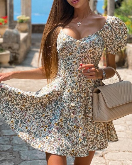 Puff Sleeve Button Front Ditsy Floral Print Dress