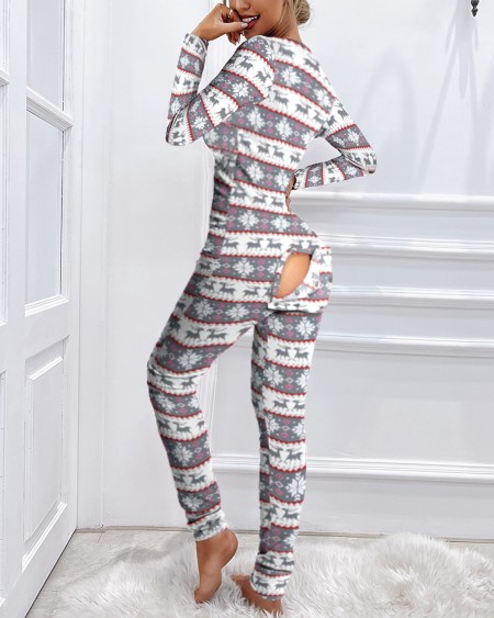Christmas Functional Buttoned Flap Adults Pajamas