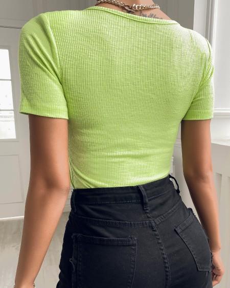 Knit V-Neck Short Sleeve T-shirt