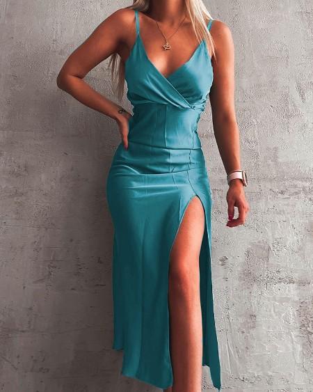 Spaghetti Strap High Slit Maxi Dress
