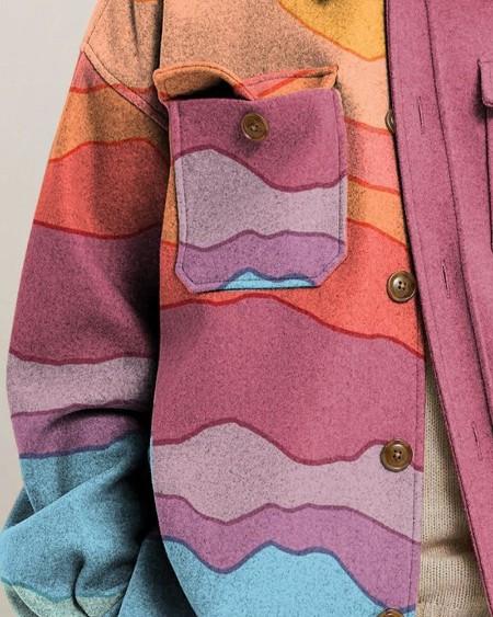 Mens Fashion Patchwork Colorful Irregular Stripes Print Long Sleeve Jacket