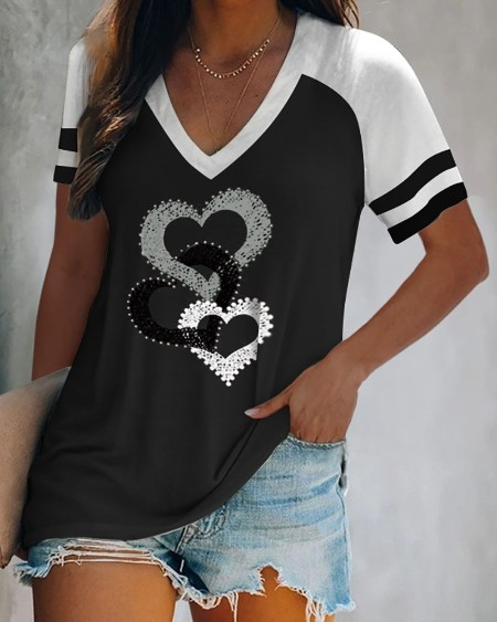 Heart Print Striped Colorblock Short Sleeve T-shirt
