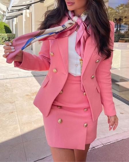 Double Breasted Pocket Decor Blazer Coat & Skirt Set