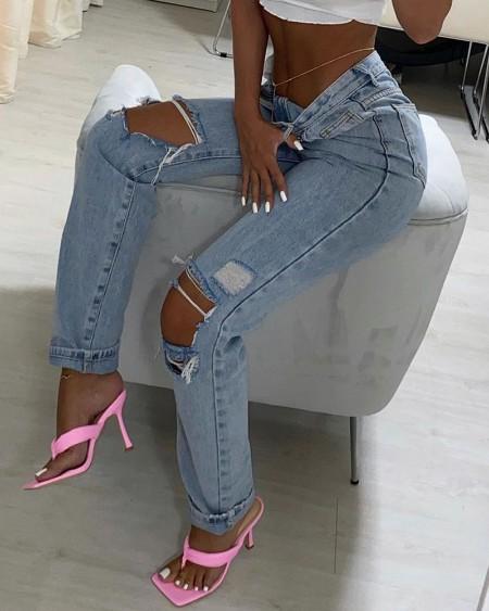 High Waist Pocket Design Ripped Cutout Jeans
