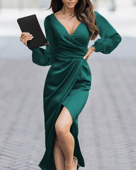 Puff Sleeve Ruched High Slit Satin Wrap Party Dress