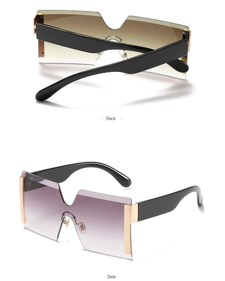 1Pair Rimless Flat Top Ombre Lens Sunglasses