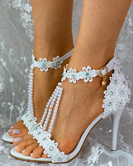 Lace Floral Studded Beaded Thin Heels