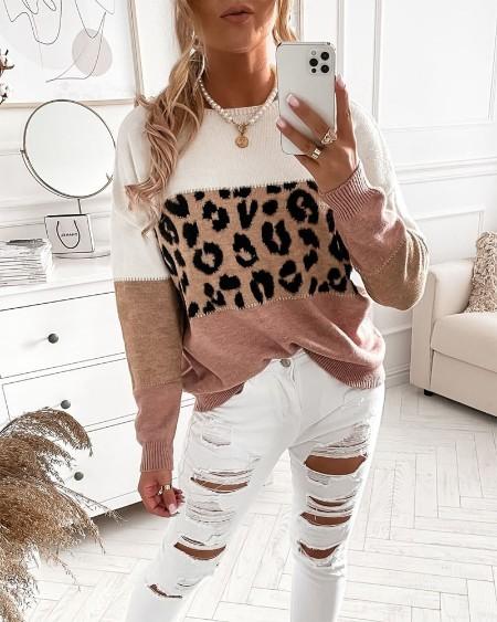 Leopard Patch Drop Shoulder Sweater