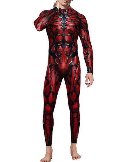Mens Venom Printed Long Sleeve Skinny Jumpsuit