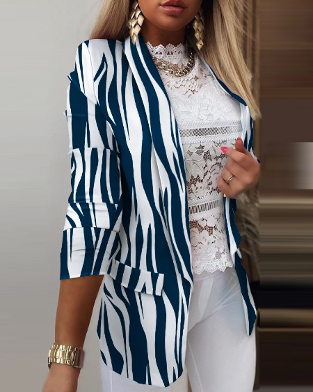 Blazer de detalhe zebra Stripe Shawl Collar manga comprida aba