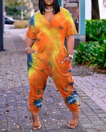 Tie Dye Print Pocket Design Short Sleeve Jumpsuit