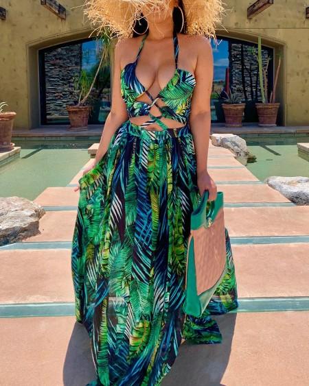 Halter Lace-UP Leaf Print Slit Maxi Dress