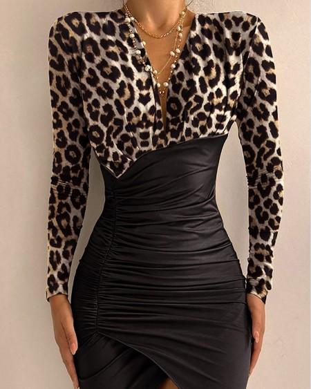 Cheetah Print Colorblock Slit Ruched Bodycon Dress