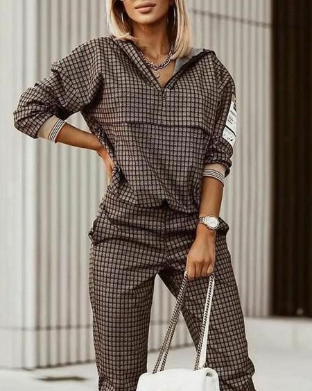 Plaid Print Zipper Front Hooded Top & Pants Set