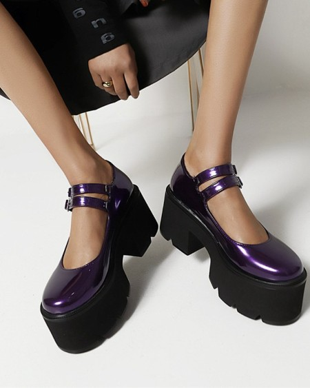Chic Womens Double Straps Round Toe Shiny Finish Platform Shoes