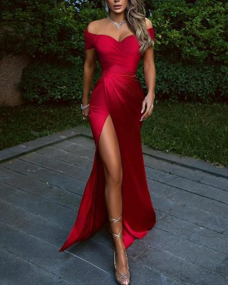 Solid Off Shoulder Ruched Wrap Split Thigh Dress