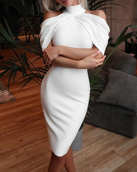 Cold Shoulder Ruched High Neck Party Dress