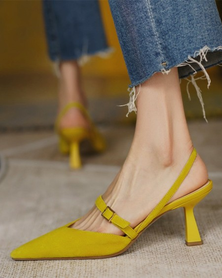 Pointed-toe Solid Color Buckle Suede PU High Heels